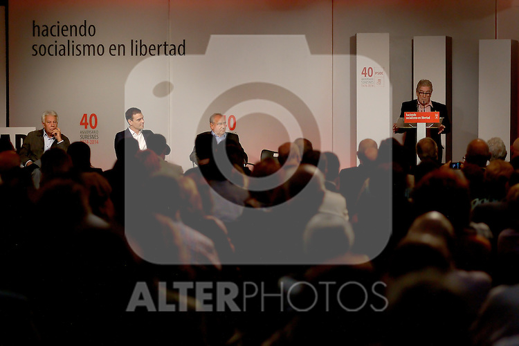 """Madrid,Spain - 16 10 2014- """"politics""""-Former Spanish Socialist Leader Felipe Gonzalez(left) beside Spanish Socialist Leader Pedro Sanchez(center) and Alfonso Guerra(right) during at the 40th anniversary ceremony of the Suresnes Congress (Foto: Guillermo Martinez /Bouza Press)"""