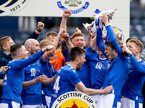 22nd May 2021; Hampden Park, Glasgow, Scotland; Scottish Cup Football Final, St Johnstone versus Hibernian  Murray Davidson of St Johnstone lifts the Scottish cup   after winning the final by the score of 1-0