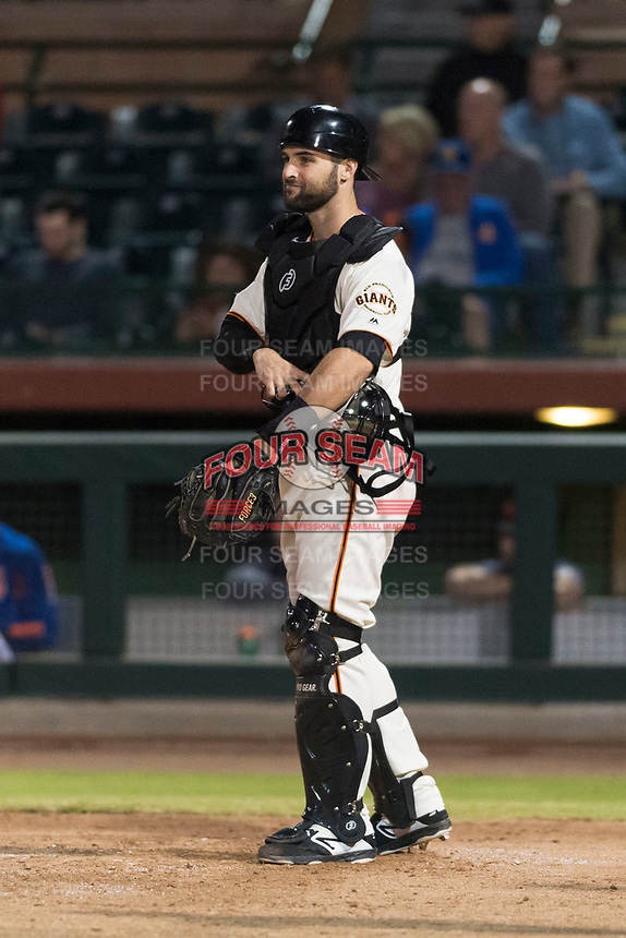 Scottsdale Scorpions catcher Matt Winn (16), of the San Francisco Giants organization, during an Arizona Fall League game against the Surprise Saguaros at Scottsdale Stadium on October 15, 2018 in Scottsdale, Arizona. Surprise defeated Scottsdale 2-0. (Zachary Lucy/Four Seam Images)