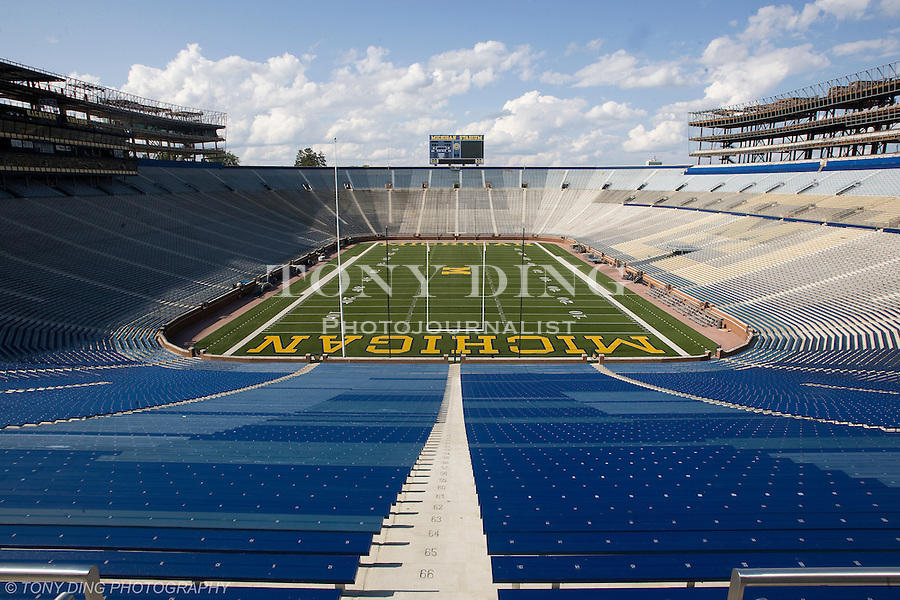 14 August 2008: Michigan Stadium in Ann Arbor, MI. The Big House is undergoing major construction to add skyboxes, club seating, and numerous plumbing and concessions upgrades. The stadium will be completed in August, 2010 with more than 108,000 seats.