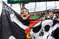 A Toulon fan celebrates after winning the Heineken Cup Final between ASM Clermont Auvergne and RC Toulon at the Aviva Stadium, Dublin on Saturday 18th May 2013 (Photo by Rob Munro)