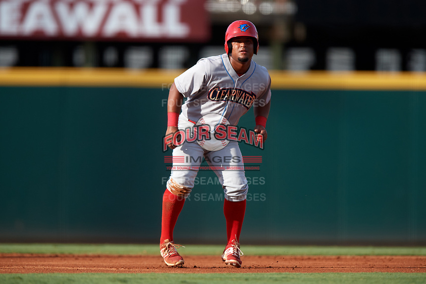 Clearwater Threshers designated hitter Wilson Garcia (10) leads off second base during a game against the Bradenton Marauders on July 24, 2017 at LECOM Park in Bradenton, Florida.  Bradenton defeated Clearwater 6-3  (Mike Janes/Four Seam Images)