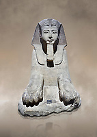 Ancient Egyptian Sphinx statue, sandstone, New Kingdom, early 19th Dynasty (1292-1250), Karnak, Temple of Amon. Egyptian Museum, Turin. <br /> <br /> This sphinx statue show signs of remodelling. the accentuated curves of the eyebrows, the almond shaped eyes and the wide mouth with fleshy lips are still influenced by the late 18th Dynasty style. The long aquiline nose however is typical of Ramesside. The lappets of the nemes headdress and the beard show clear traces of unfinished re-carving. Drovetti Collection. C1409