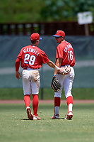 GCL Phillies West outfielders Tucker Maxwell (29) and Keaton Greenwalt (16) during a Gulf Coast League game against the GCL Yankees East on August 3, 2019 at the Carpenter Complex in Clearwater, Florida.  The GCL Yankees East defeated the GCL Phillies West 4-0, the second game of a doubleheader.  (Mike Janes/Four Seam Images)