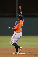 AZL Giants Orange first baseman Beicker Mendoza (31) points to the sky after hitting a double during an Arizona League game against the AZL Athletics at Lew Wolff Training Complex on June 25, 2018 in Mesa, Arizona. AZL Giants Orange defeated the AZL Athletics 7-5. (Zachary Lucy/Four Seam Images)