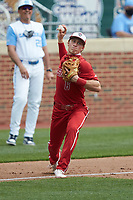 North Carolina State Wolfpack third baseman Vojtech Mensik (6) makes a throw to first base against the North Carolina Tar Heels at Boshamer Stadium on March 27, 2021 in Chapel Hill, North Carolina. (Brian Westerholt/Four Seam Images)
