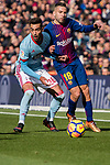 Jordi Alba of FC Barcelona (R) in action against Brais Méndez Portela of RC Celta de Vigo (L) during the La Liga 2017-18 match between FC Barcelona and RC Celta de Vigo at Camp Nou Stadium on 02 December 2017 in Barcelona, Spain. Photo by Vicens Gimenez / Power Sport Images