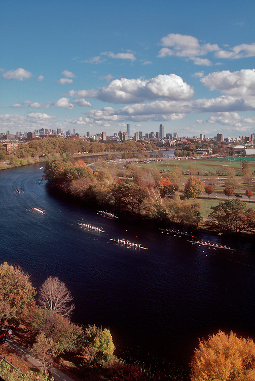 Rowing, the Head of the Charles Rowing Regatta, Charles River, skyline of Boston from Cambridge