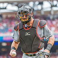 30 August 2015: Miami Marlins catcher Jeff Mathis in action against the Washington Nationals at Nationals Park in Washington, DC. The Nationals rallied to defeat the Marlins 7-4 in the third game of their 3-game weekend series. Mandatory Credit: Ed Wolfstein Photo *** RAW (NEF) Image File Available ***