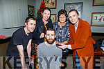 The Raymond family gather to support Richard Raymond before he gets shaved by Carianne Clifford for a good cause raising funds for Palliative Care in memory of his dad Tom Raymond in the Munster Bar on Sunday. <br /> Seated Richard Raymond. Standing l to r: Tom, Jessica, Catherine and Triona Raymond