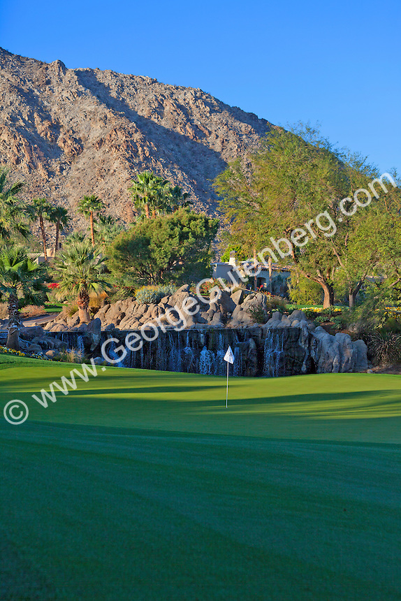 Early morning light of golf course green