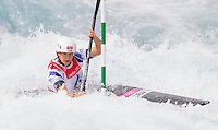 02 AUG 2012 - CHESHUNT, GBR - Lizzie Neave (GBR) of Great Britain makes her semi final run during the women's Kayak Single (K1) during the London 2012 Olympic Games event at Lee Valley White Water Centre, Cheshunt, Great Britain .(PHOTO (C) 2012 NIGEL FARROW)