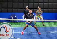 December 16, 2014, Rotterdam, Topsport Centrum, Lotto NK Tennis, Doubles Demi Schuurs (L) and Olga Kalyuzhnaya (NED)<br /> Photo: Tennisimages/Henk Koster