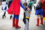 © Joel Goodman - 07973 332324. 30/07/2017 . Manchester , UK . Batman (Maximillian Dowling) (four, from Stoke) . Cosplayers, families and guests at Comic Con at the Manchester Central Convention Centre . Photo credit : Joel Goodman