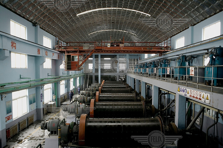 Grinding mills at Shandong Zhao Jin Industry pulverizes ore into powder before starting the recovery process of extracting gold. China purchased 221 tons of gold in the first three quarters of last year (2007), to become the second largest gold consumer in the world.