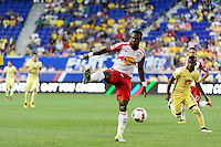 Harrison, NJ - Wednesday July 06, 2016: Gideon Baah during a friendly match between the New York Red Bulls and Club America at Red Bull Arena.
