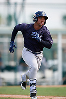 New York Yankees Frederick Cuevas (47) runs to first base during an Instructional League game against the Pittsburgh Pirates on September 28, 2017 at Pirate City in Bradenton, Florida.  (Mike Janes/Four Seam Images)