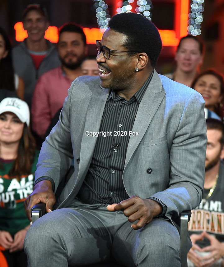 """MIAMI BEACH, FL - JANUARY 28: Michael Irvin discusses Fox Sports """"The ReUnion"""" at the Fox Sports South Beach studio during Super Bowl LIV week on January 29, 2020 in Miami Beach, Florida. (Photo by Frank Micelotta/Fox Sports/PictureGroup)"""