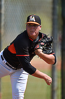 Miami Marlins pitcher Nick White (97) warms up in the bullpen during a minor league spring training intrasquad game on April 2, 2015 at the Roger Dean Complex in Jupiter, Florida.  (Mike Janes/Four Seam Images)