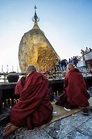Monks at the golden rock, Myanmar