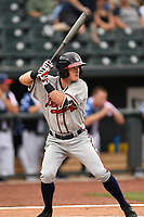 Shortstop Marcus Mooney (2) of the Rome Braves bats in a game against the Columbia Fireflies on Monday, July 3, 2017, at Spirit Communications Park in Columbia, South Carolina. Columbia won, 1-0. (Tom Priddy/Four Seam Images)