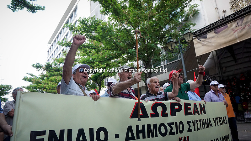 Pensioners protesting in Athens, Greece. 25 May 2018
