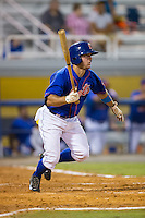 Kevin Kaczmarski (36) of the Kingsport Mets starts down the first base line during the game against the Elizabethton Twins at Hunter Wright Stadium on July 8, 2015 in Kingsport, Tennessee.  The Mets defeated the Twins 8-2. (Brian Westerholt/Four Seam Images)