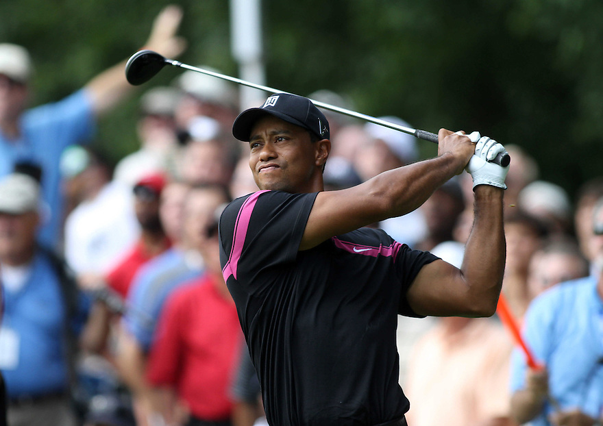 Golfer Tiger Wood in action during the Fedex Cup PGA play-off's in Paramus, New Jersey. photo by Trevor Collens