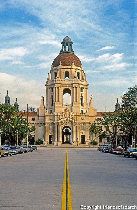 Pasadena CA: Pasadena City Hall from west.  Photo '88.