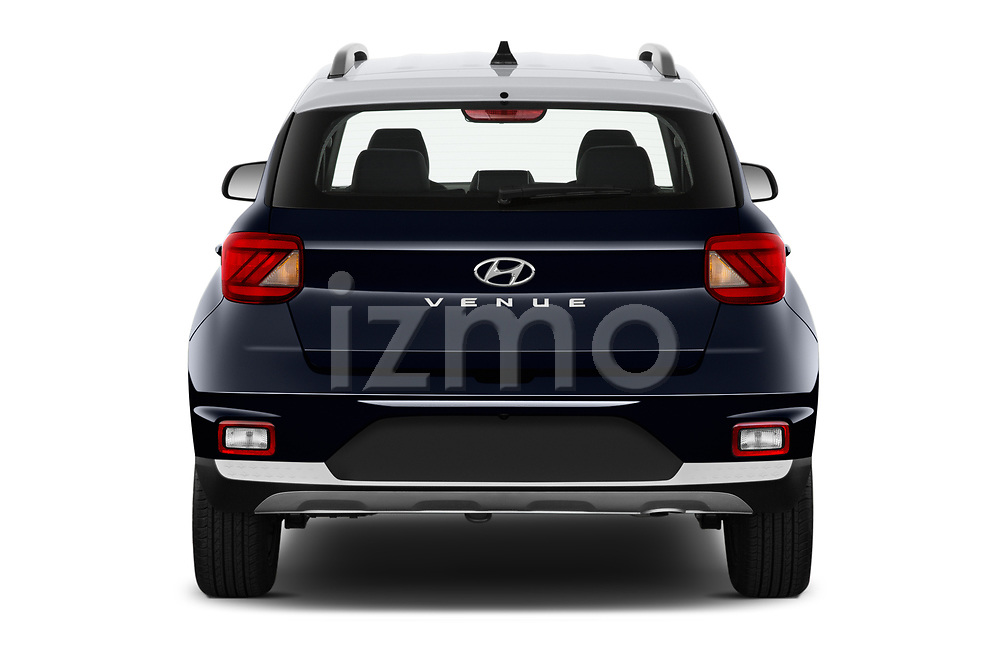 Straight rear view of 2020 Hyundai Venue Denim 5 Door SUV Rear View  stock images