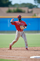Philadelphia Phillies third baseman Kendall Simmons (21) throws to first base during an Instructional League game against the Toronto Blue Jays on September 27, 2019 at Englebert Complex in Dunedin, Florida.  (Mike Janes/Four Seam Images)