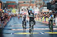 Wout Poels (NLD/SKY) wins the 102nd Liège-Bastogne-Liège 2016 by beating Michael Albasini (SUI/Orica-GreenEDGE) on the finish line