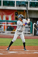 Manuel Melendez (1) of the Grand Junction Rockies at bat against the Orem Owlz in Pioneer League action at Home of the Owlz on July 6, 2016 in Orem, Utah. The Rockies defeated the Owlz 5-4 in Game 2 of the double header.  (Stephen Smith/Four Seam Images)
