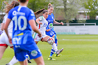 Luna Vanzeir (10) of OHL and Heleen Jaques (4) of AA Gent pictured during a female soccer game between AA Gent Ladies and Oud Heverlee Leuven on the fourth matchday of play off 1 in the 2020 - 2021 season of Belgian Scooore Womens Super League , saturday 1 st of May 2021  in Oostakker , Belgium . PHOTO SPORTPIX.BE | SPP | STIJN AUDOOREN