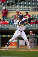 Travis Maezes (9) of the Michigan Wolverines bats during a 2015 Big Ten Conference Tournament game between the Michigan Wolverines and Indiana Hoosiers at Target Field on May 20, 2015 in Minneapolis, Minnesota. (Brace Hemmelgarn/Four Seam Images)