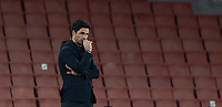 April 3rd 2021; Emriates Stadium, London, England;  Arsenals manager Mikel Arteta watches the action nervously during the Premier League match between Arsenal and Liverpool at the Emirates Stadium in London