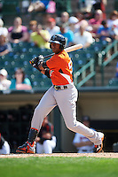 Norfolk Tides outfielder Henry Urrutia (51) at bat during a game against the Rochester Red Wings on May 3, 2015 at Frontier Field in Rochester, New York.  Rochester defeated Norfolk 7-3.  (Mike Janes/Four Seam Images)