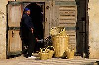 Meknes, Morocco.  Basket Vendor, near the Mausoleum of Moulay Ismail.