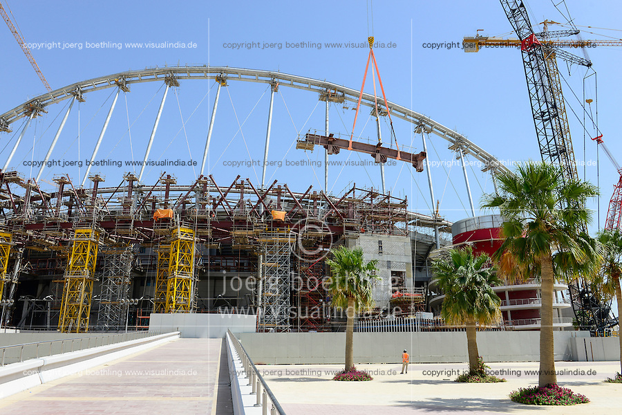 QATAR, Doha, construction site Khalifa International Stadium for FIFA world cup 2022, built by contractor midmac and sixt contract / KATAR, Doha, Baustelle Khalifa International Stadium fuer die  FIFA Fussballweltmeisterschaft 2022