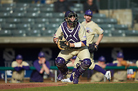 Western Carolina Catamounts catcher Kitt Capell (12) checks the runner at first base during the game against the Saint Joseph's Hawks at TicketReturn.com Field at Pelicans Ballpark on February 23, 2020 in Myrtle Beach, South Carolina. The Hawks defeated the Catamounts 9-2. (Brian Westerholt/Four Seam Images)