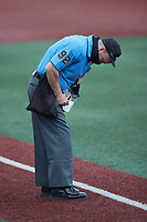 Home plate umpire Matt Schaeffer updates his lineup card during the NCAA baseball game between the Old Dominion Monarchs and the Charlotte 49ers at Hayes Stadium on April 23, 2021 in Charlotte, North Carolina. (Brian Westerholt/Four Seam Images)