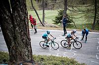 Nans Peters (FRA/AG2R - La Mondiale) & Andrey Zeits (KAZ/Astana) up the Colle San Carlo (Cat1/1921m/10.1km/9.8%)<br /> <br /> Stage 14: Saint Vincent to Courmayeur/Skyway Monte Bianco (131km)<br /> 102nd Giro d'Italia 2019<br /> <br /> ©kramon