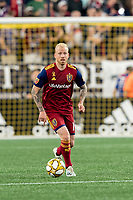 FOXBOROUGH, MA - SEPTEMBER 21: Luke Mulholland #19 of Real Salt Lake looks to pass during a game between Real Salt Lake and New England Revolution at Gillette Stadium on September 21, 2019 in Foxborough, Massachusetts.