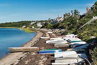 Rowboats on beach, Chatham Harbor, Cape Cod, Massachusetts, USA