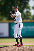 Modesto Nuts relief pitcher Wyatt Mills (41) prepares to deliver a pitch during a California League game against the Lake Elsinore Storm at John Thurman Field on May 13, 2018 in Modesto, California. Lake Elsinore defeated Modesto 4-3. (Zachary Lucy/Four Seam Images)
