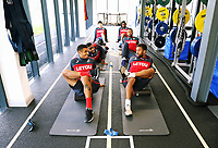 (L-R) Kyle Naughton and Wayne Routledge share as they exercise in the gym during the Swansea City Training at The Fairwood Training Ground, Swansea, Wales, UK. Wednesday 27 September 2017