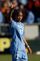 North Carolina Tar Heels forward Jessica McDonald (47) during player introductions. The North Carolina Tar Heels defeated the Notre Dame Fighting Irish 2-1 during the finals of the NCAA Women's College Cup at Wakemed Soccer Park in Cary, NC, on December 7, 2008. Photo by Howard C. Smith/isiphotos.com