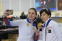 SPEEDSKATING: 14-02-2020, Utah Olympic Oval, ISU World Single Distances Speed Skating Championship, Podium 500m Ladies, Angelina Golikova (RUS), Nao Kodaira (JPN), ©Martin de Jong