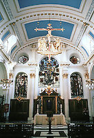 """Sir Christopher Wren: St. Mary-Le-Bow 1670-83. """"Harshly colored modern glass has reduced the interior to prettiness"""".  Photo '90."""