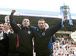 St Johnstone v Morton....02.05.09.Derek McInnes and Tony Docherty with the first division trophy.Picture by Graeme Hart..Copyright Perthshire Picture Agency.Tel: 01738 623350  Mobile: 07990 594431
